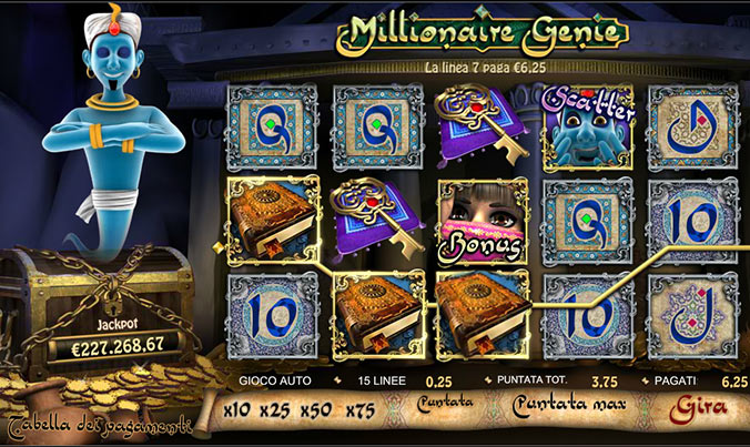 Slot machine Millionaire Genie su 888.it