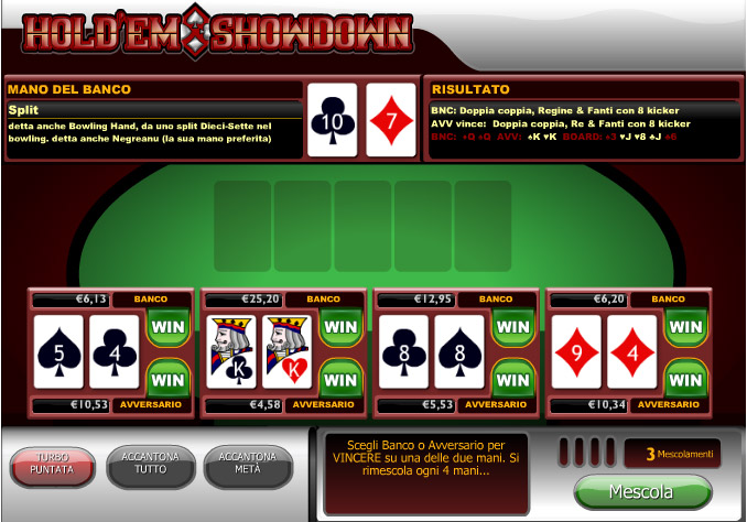 poker texas hold'em in versione da casinò online